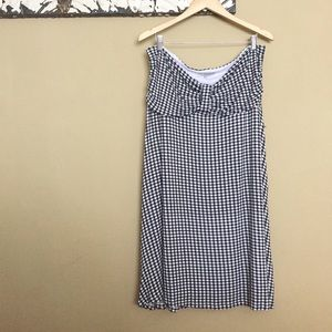 Gingham Jersey Strapless Dress